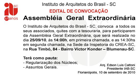 Assembléia Geral Extraordinária IAB-SC