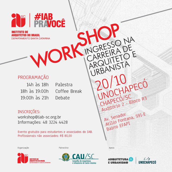 Workshop Ingresso na Carreira de Arquiteto e Urbanista, 20/10, Chapecó/SC
