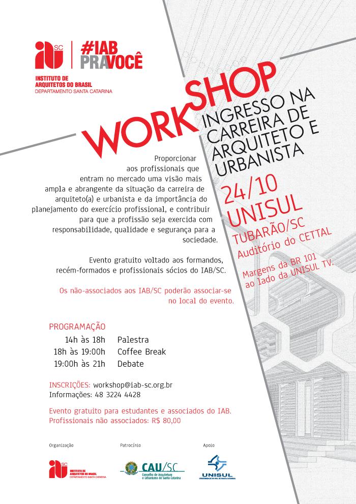 Workshop Ingresso na Carreira de Arquiteto e Urbanista,  Tubarão / Cancelado