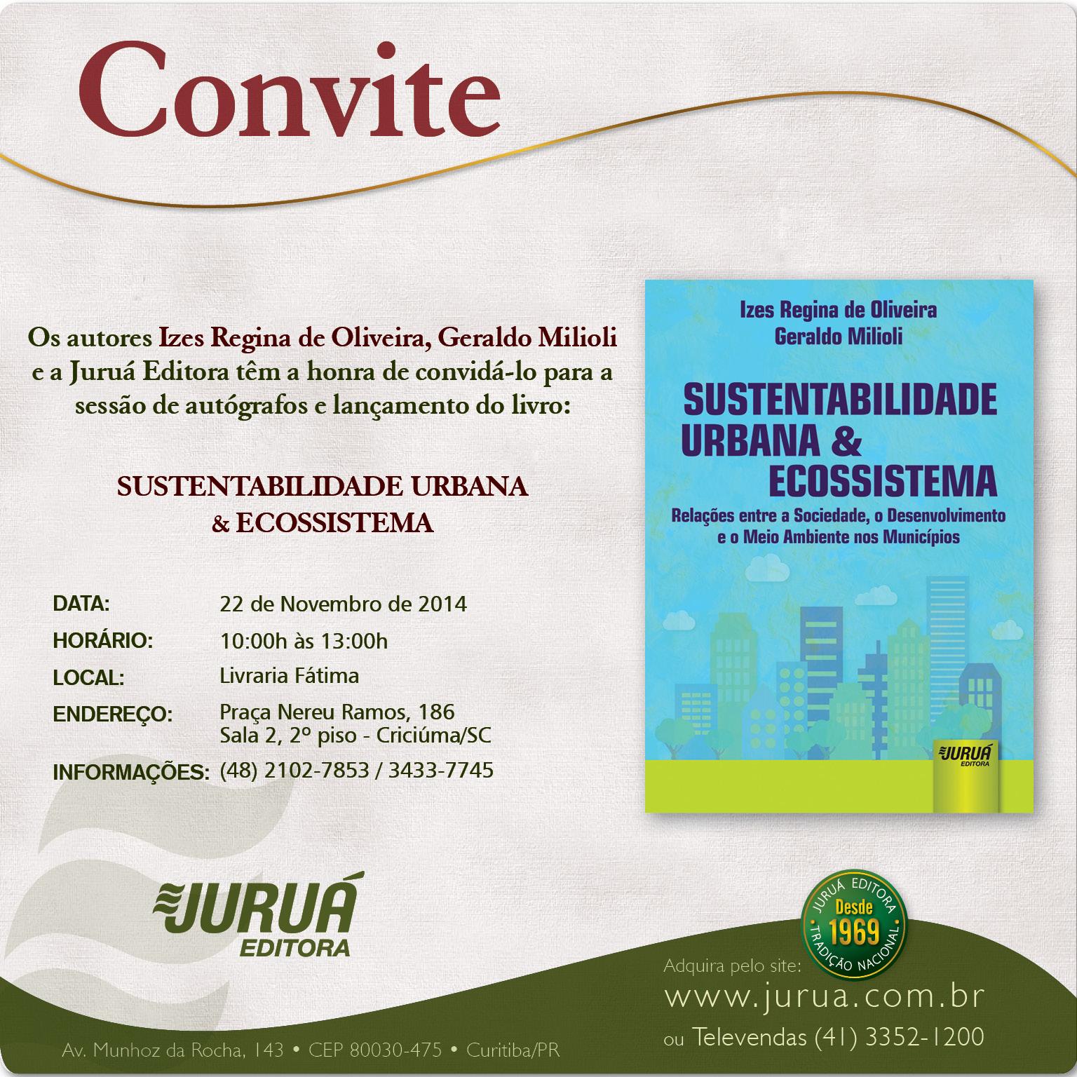 Convite lançamento do livro - Sustentabilidade Urbana