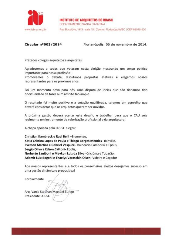 # CAUparaTodos - Circular nº003/2014