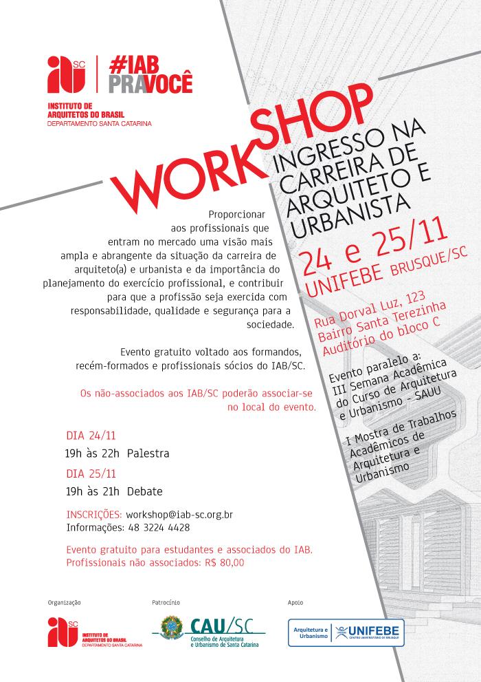 Workshop Ingresso na Carreira de Arquiteto e Urbanista, 24 e 25/11, Brusque