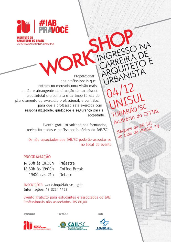 Workshop Ingresso na Carreira de Arquiteto e Urbanista, 04/12, Tubarão/SC