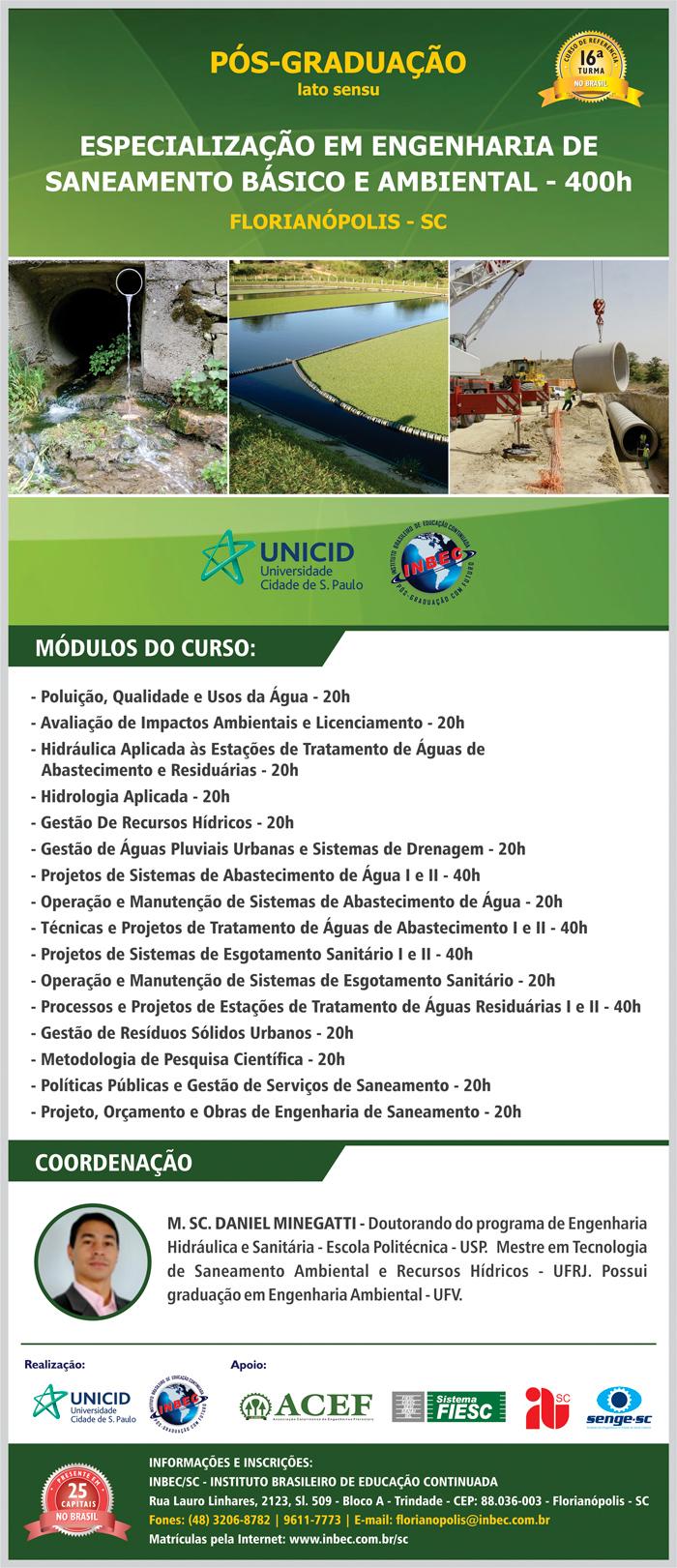 Resultado do sorteio da bolsa da Pós-Graduação Especialização em Engenharia de Saneamento Básico e Ambiental