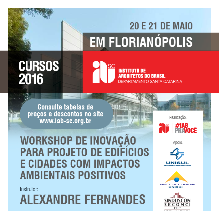 """""""Workshop de Inovação para projeto de edifícios e cidades com impactos ambientais positivos"""", 20 e 21 de maio"""