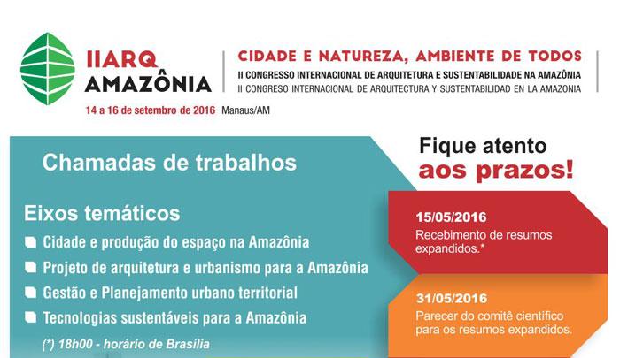 II Congresso Internacional de Arquitetura e Sustentabilidade na Amazônia - II ARQAMAZÔNIA