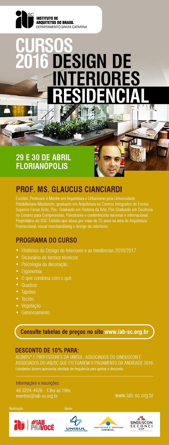 Curso confirmado design de interiores residencial 29 e 30 de abril florian polis sc iab sc - Curso de disenador de interiores ...