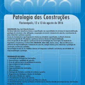 CURSO DE PATOLOGIA DAS CONSTRUÇÕES, 12 e 13 agosto, em Florianópolis/SC