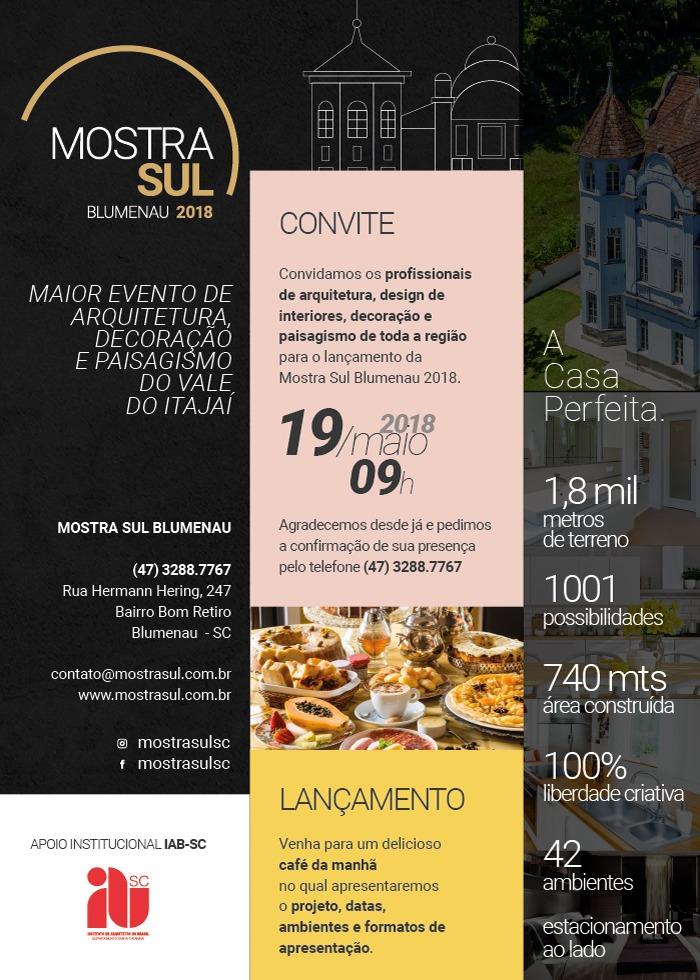 Convite lançamento Mostra Sul Blumenau 2018 - 19.05